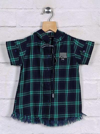 Stilomoda checks design navy cotton top