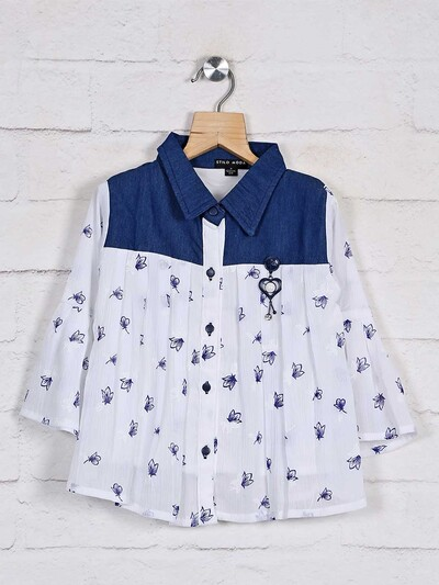 Stilomoda white printed cotton top for pretty girls