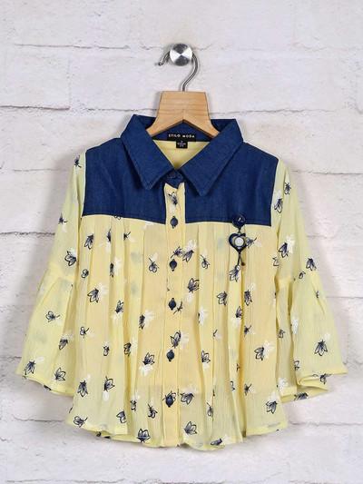 Stilomoda yellow top design in cotton
