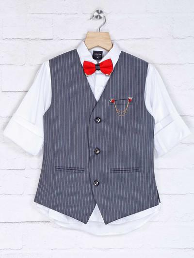 Stripe grey and white cotton silk waistcoat set