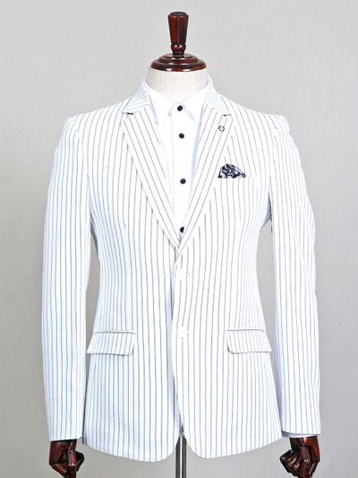 Stripe pattern white terry rayon blazer for mens