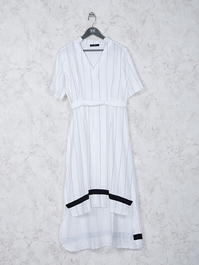 Stripe white hue cotton fabric kurti
