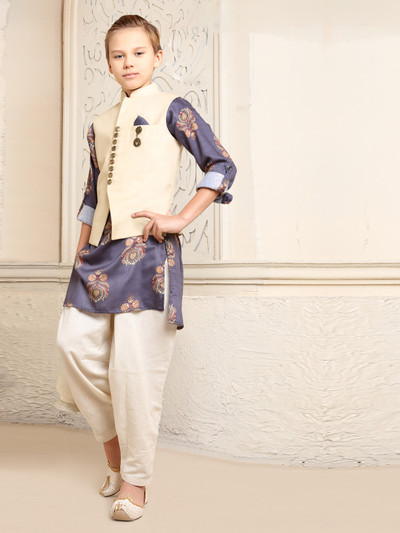 Stunning beige and green terry rayon waistcoat set