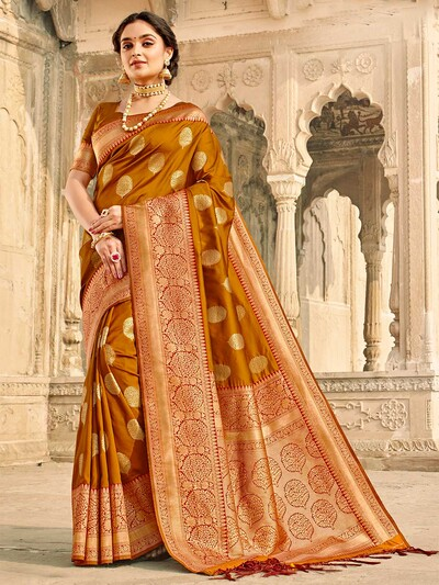 Stunning mustard yellow banarasi silk saree for wedding session