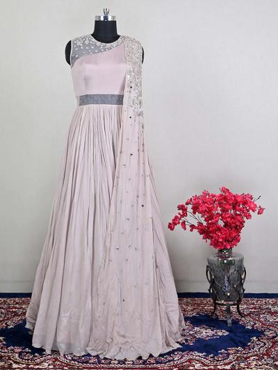 Stunning onion pink designer georgette salwar kameez