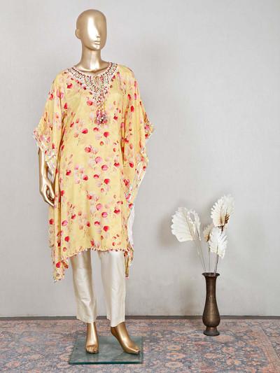 Stuuning yellow salwar kameez for festive wear in silk