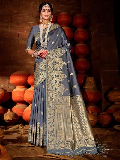 Stylish banarasi silk fabric saree in grey