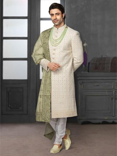 Stylish cream sherwani with lakhnavi thread work