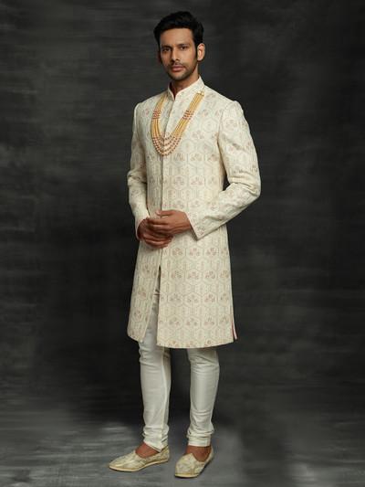 Stylish groom cream lakhnavi sherwani in silk