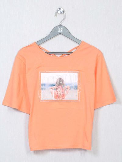 Stylist peach cotton casual wear top