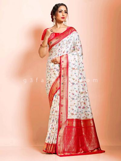 Super fine dola silk white wedding traditional wear saree