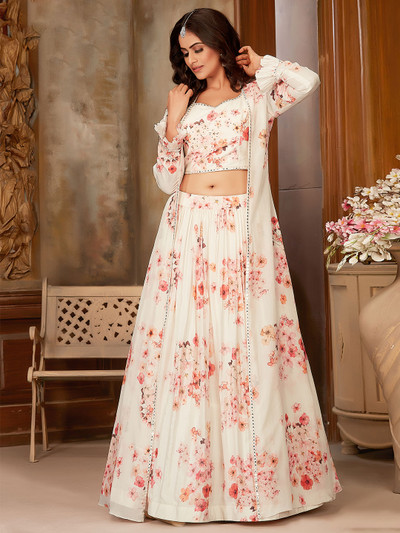 Superb peach georgette printed party wear jacket style suit
