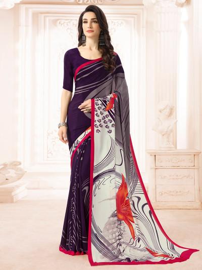 Superb purple and grey crepe printed saree