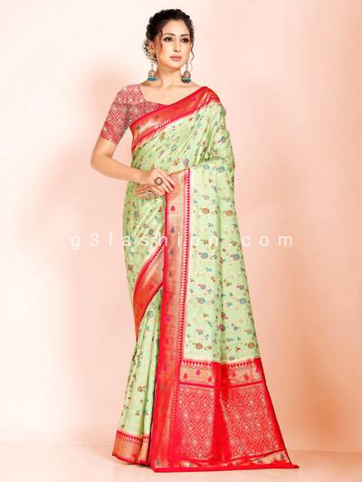 Superfine dola silk light green saree