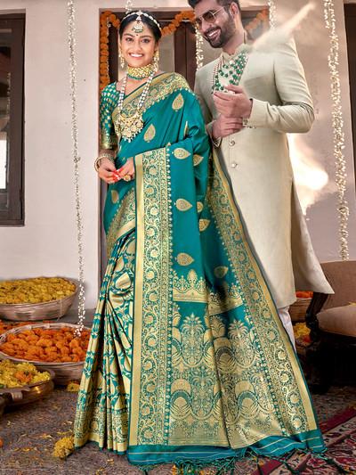 Teal blue banarasi silk wedding functions saree