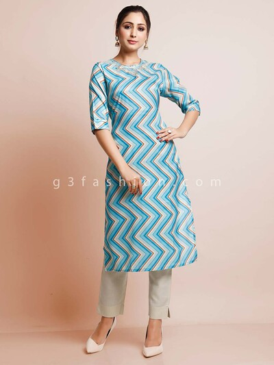 Teal blue festive wear cotton kurti
