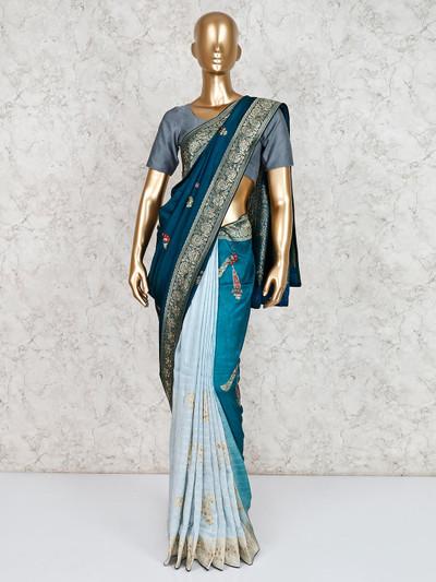 Teal green and blue half and half saree
