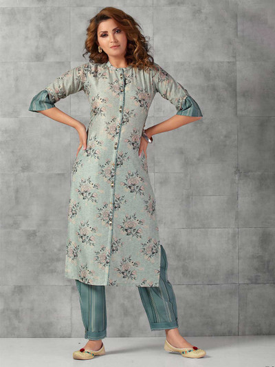 Teal green cotton casual wear pant suit