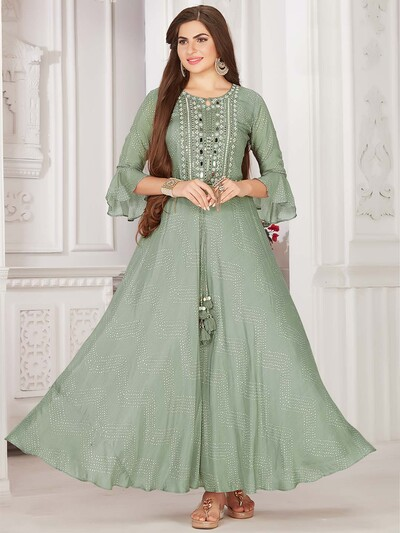 Teal green cotton printed festive kurti
