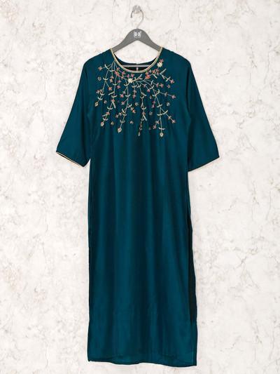 Teal green cotton silk round neck kurti