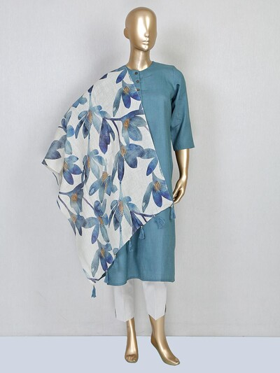 Teal green linen casual wear pant suit