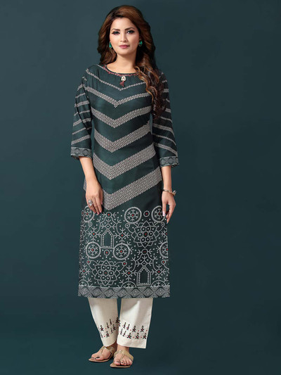Teal green printed cotton pantsuit for casual look