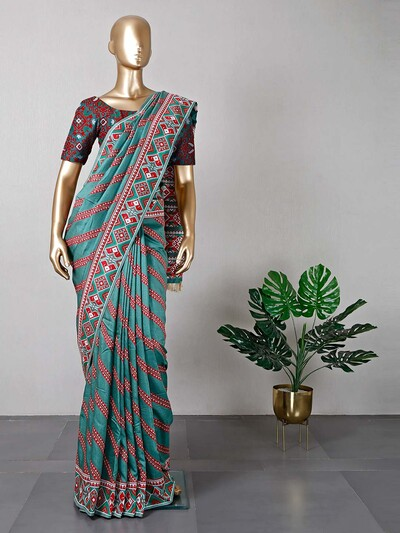 Teal green womens cotton saree