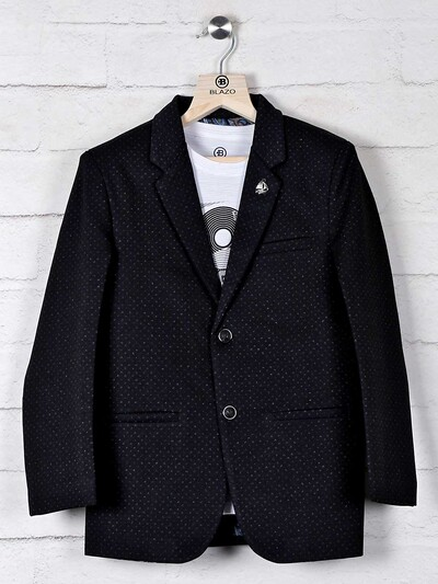 Terry rayon black blazer with t-shirt