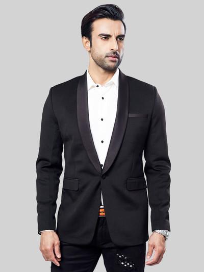 Terry rayon black hue shawl collar blazer