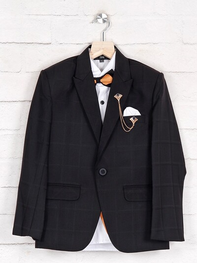 Terry rayon black one buttoned tuxedo suit