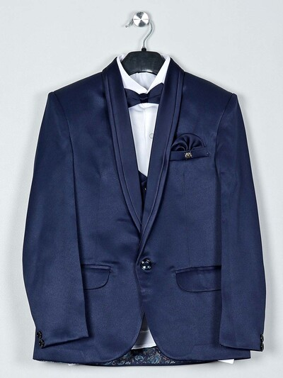 Terry rayon fabric navy hue tuxedo suit