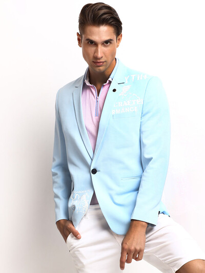 Terry rayon sky blue blazer for party function