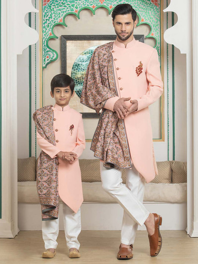 Terry rayon solid wedding father son matching indo western
