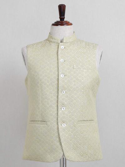 Textured green waistcoat in raw silk