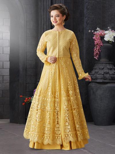 Thread woven yellow net lehenga choli
