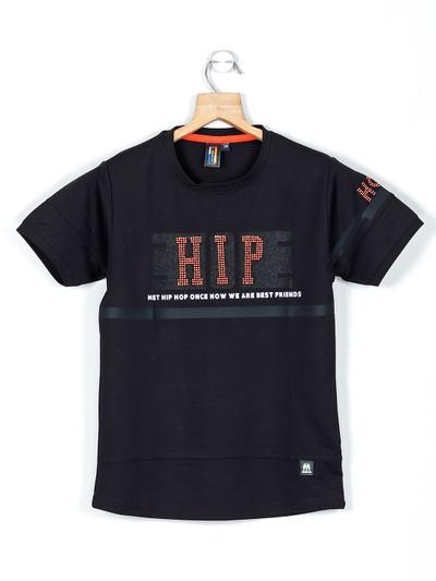 Timbuktuu black printed cotton boys t-shirt