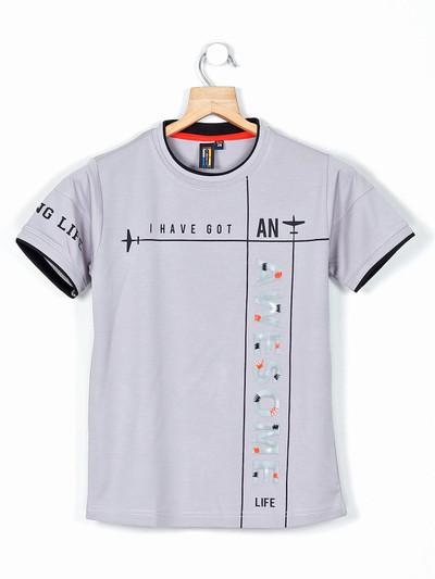 Timbuktuu grey printed casual wear t-shirt