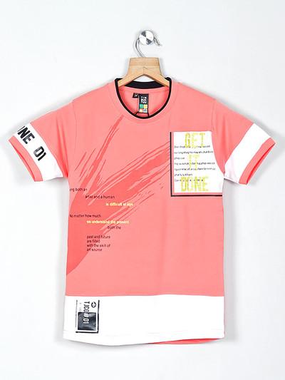 Timbuktuu peach printed cotton boys t-shirt
