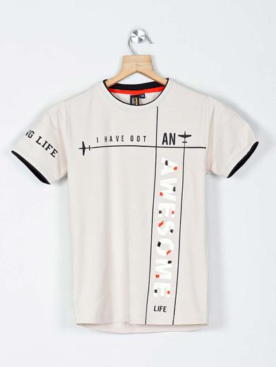 Timbuktuu printed off white casual boys t-shirt