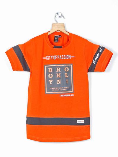 Timbuktuu printed orange casual boys t-shirt