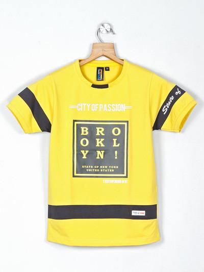 Timbuktuu printed yellow casual boys t-shirt