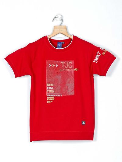 Timbuktuu red printed casual boys t-shirt