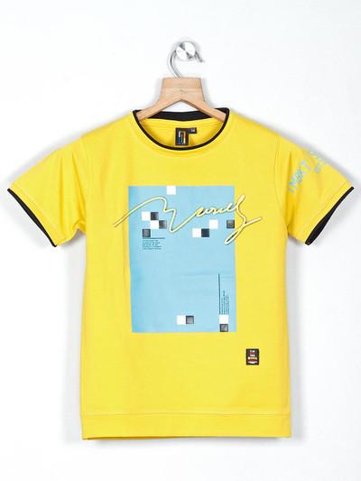 Timbuktuu yellow printed boys t-shirt in cotton