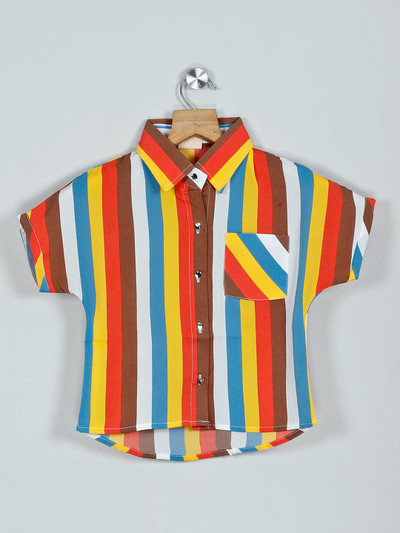 Tiny Girl brown and yellow stripe style cotton top