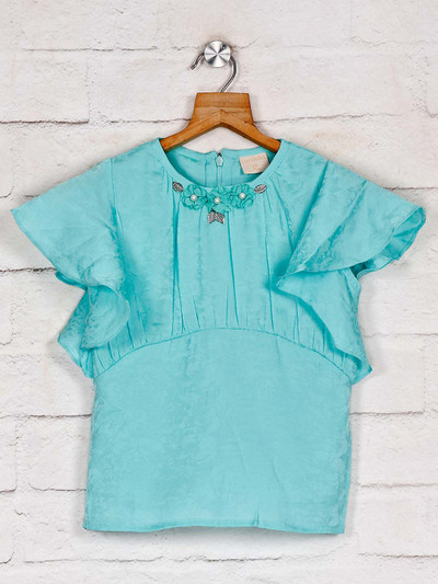 Tiny Girl casual wear solid sea green top