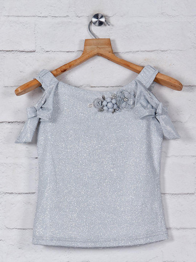 Tiny Girl grey solid top in georgette