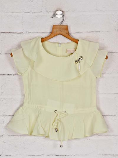 Tiny Girl latest solid lemon yellow cotton top