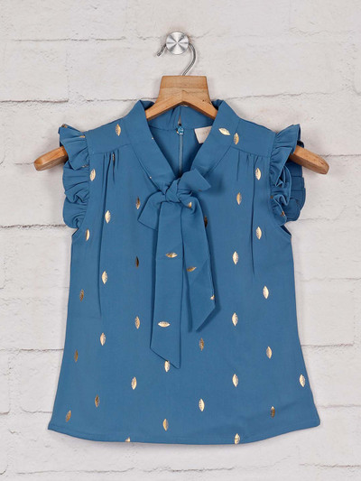 Tiny Girl printed opal blue cotton top