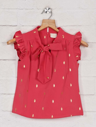 Tiny Girl printed pink cotton casual top