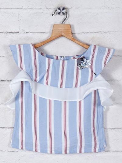 Tiny Girl sky blue cotton top with stripe pattern